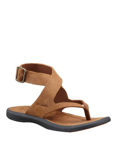 Columbia Caprizee Ankle Strap Leather Sandals-BROWN-9