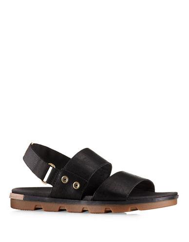 Sorel Torpeda Leather Sandals-BLACK-8.5