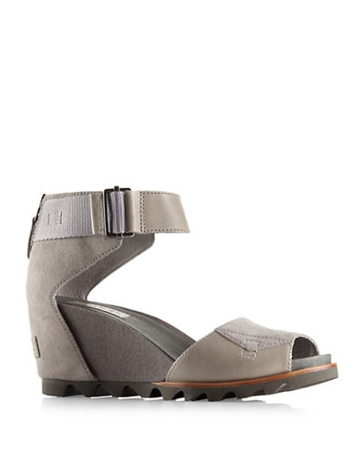 Sorel Joanie Leather Wedge Sandals-GREY-9