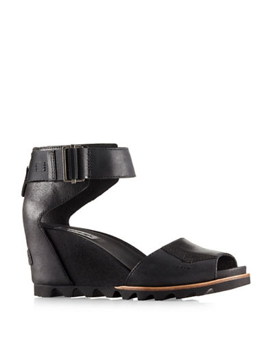 Sorel Joanie Leather Wedge Sandals-BLACK-8