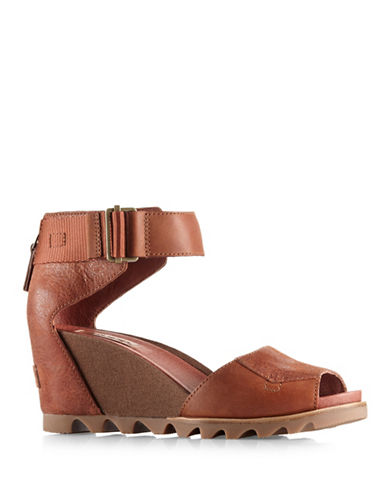 Sorel Joanie Leather Wedge Sandals-BROWN-9