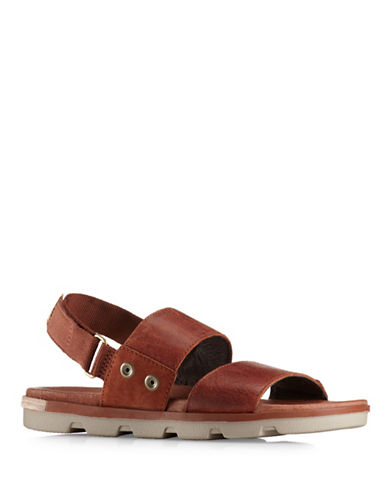 Sorel Torpeda Leather Sandals-BROWN-10