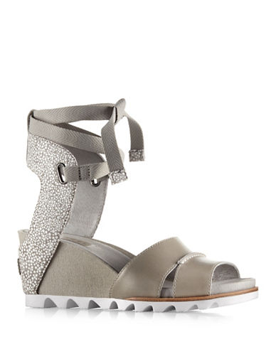 Sorel Joanie Wrap Wedge Sandals-GREY-6