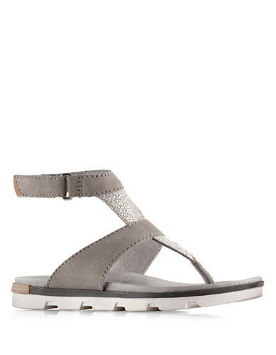 Sorel Torpeda Ankle Strap Flat Sandals-GREY-7
