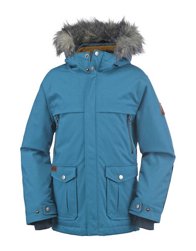 Columbia Barlow Pass Faux Fur-Trimmed 600 TurboDown Jacket-BLUE-X-Small