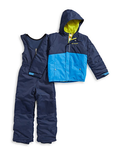 Columbia Two-Piece Zippered Jacket and Coverall Snow Pants Set-BLUE-XXSmall