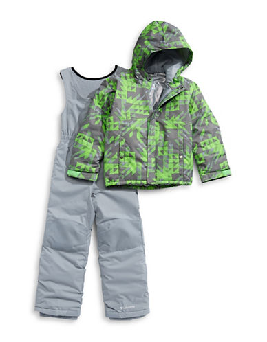 Columbia Two-Piece Printed Jacket and Coverall Snow Pants Set-GREEN-XXSmall
