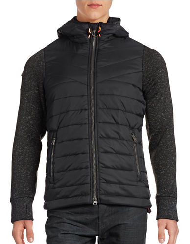 Superdry Mountain Mixed Media Hooded Jacket-BLACK-Large 88708875_BLACK_Large