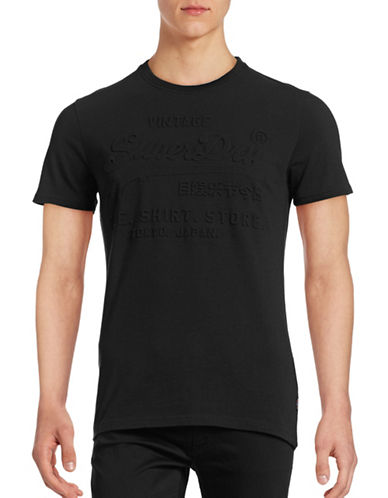 Superdry Embossed Cotton T-Shirt-BLACK-Small 88880733_BLACK_Small