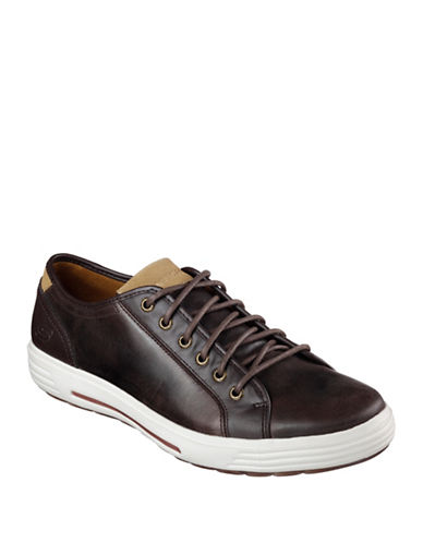 Skechers Porter-Ressen Leather Sneakers-DARK BROWN-8