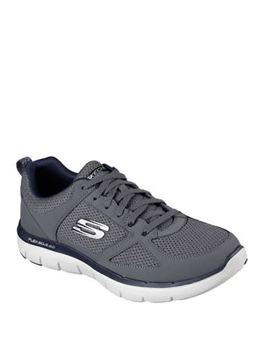 Skechers Mens Flex Advantage 2.0 Trubuck Leather Athletic Sneakers-CHARCOAL-9 88625054_CHARCOAL_9