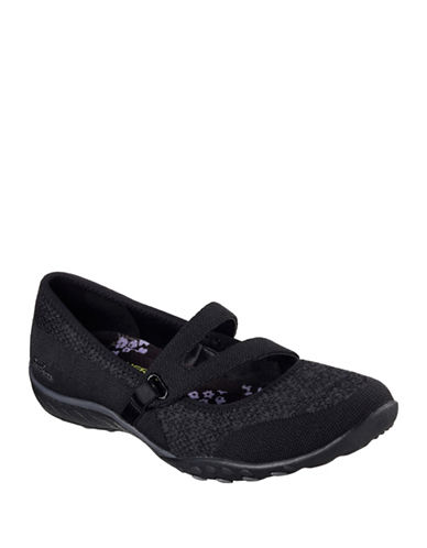 Skechers Womens Breathe Easy Lucky Lady Mary Jane Sneakers-BLACK-10