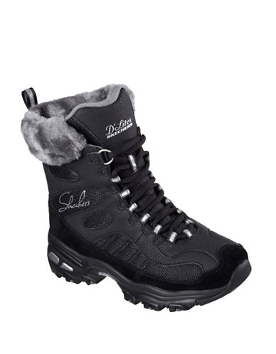 Skechers DLites Chalet Faux Fur Winter Boots-BLACK-6