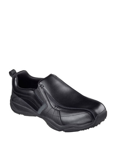 Skechers Larson- Berto Leather Slip-Ons-BLACK-9.5