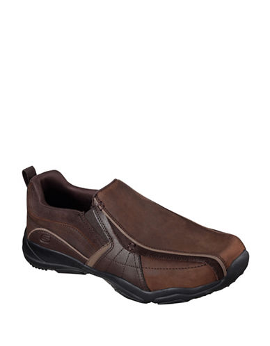 Skechers Larson- Berto Leather Slip-Ons-DARK BROWN-10