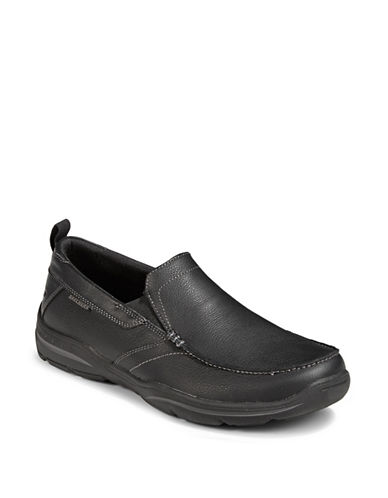 Skechers Leather Harper Loafers-BLACK-11