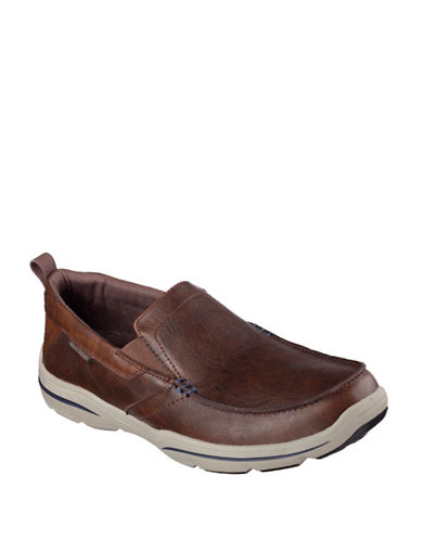 Skechers Leather Harper Loafers-CHOCOLATE-7.5