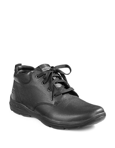 Skechers Harper Relaxed-Fit Leather Shoes-BLACK-13
