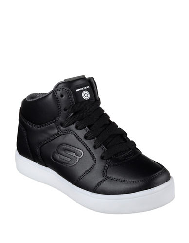 Skechers Energy Lights Leather Mid-Top Sneakers-BLACK-3