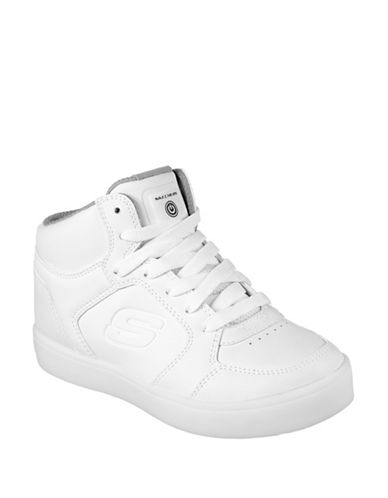 Skechers Energy Lights Leather Mid-Top Sneakers-WHITE-1