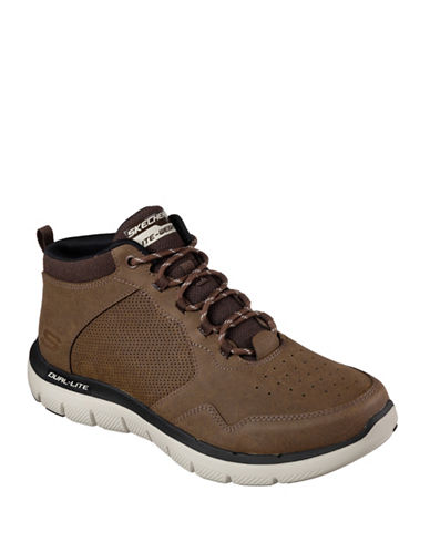 Skechers Mens Flex Advantage 2.0 Mid-Top Sneakers-BROWN-9.5