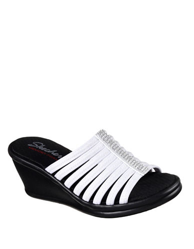 Skechers Womens Rumbler Wedge Slides-WHITE-7