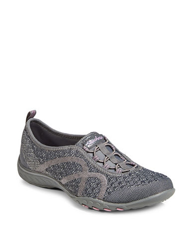 Skechers Breathe Easy Slip-On Sneakers-GREY-9.5