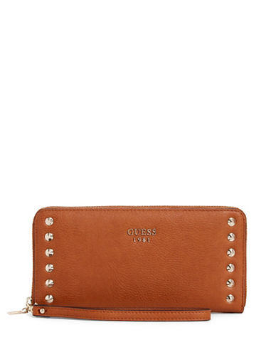 Guess Fynn Zip-Around Wallet-BROWN-One Size