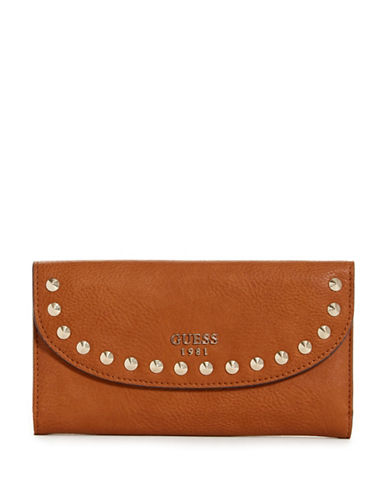 Guess Fynn Studded Clutch-BROWN-One Size