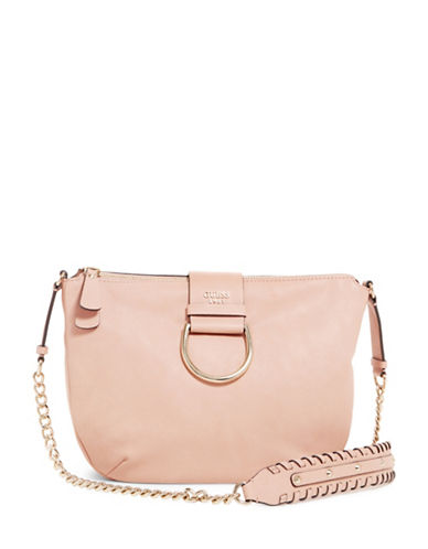 Guess Fynn Whipstitch Trim Saddle Bag-PINK-One Size