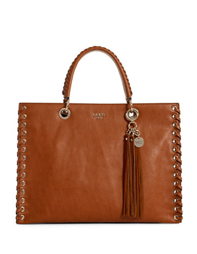 Guess Fynn Tassel Carryall-BROWN-One Size