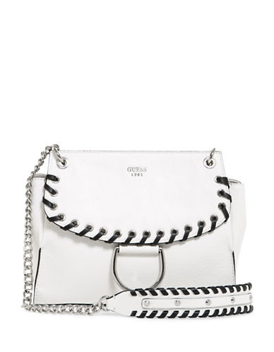 Guess Fynn Flap Crossbody Bag-WHITE-One Size