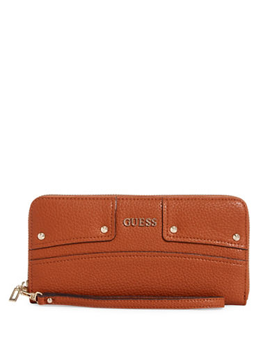 Guess Rikki Zip-Around Wallet-BROWN-One Size