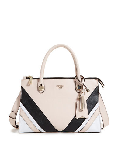 Guess Slater Status Satchel-BEIGE-One Size