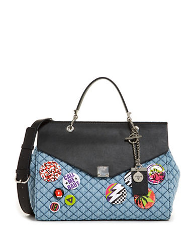 Guess Rochelle Denim Satchel-BLUE-One Size