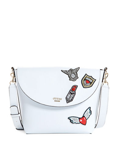 Guess Bobbi Inside Out Textured Crossbody bag-WHITE-One Size