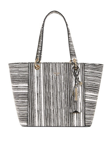 Guess Kamryn Striped Python-Embossed Tote-BLACK STRIPE-One Size