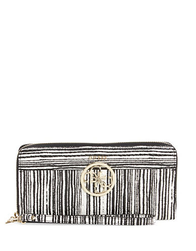 Guess Kamryn Striped Zip Around Wallet-BLACK STRIPE-One Size