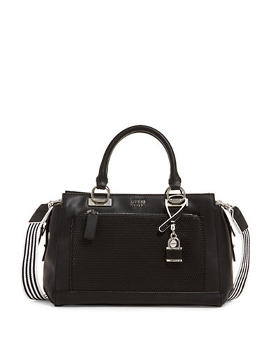 Guess Blakley Striped Satchel-BLACK-One Size