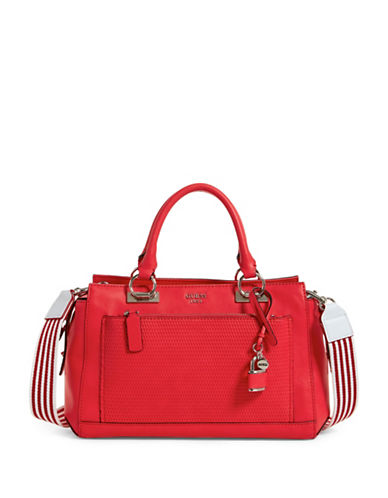 Guess Blakley Striped Satchel-RED-One Size