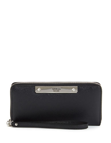Guess Britta Faux Leather Continental Wallet-BLACK-One Size
