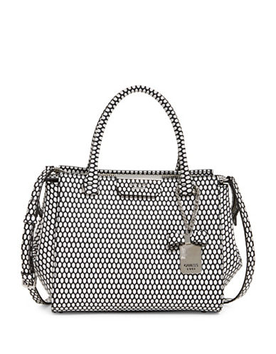 Guess Ryann Textured Satchel-BLACK-One Size