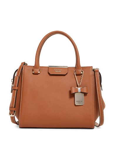 Guess Ryann Saffiano-Textured Satchel-BROWN-One Size