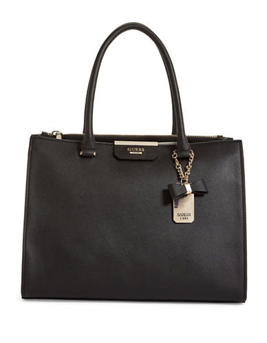 Guess Ryann Society Saffiano-Textured Carryall-BLACK-One Size