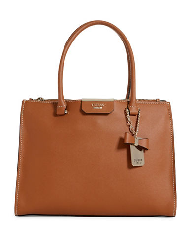 Guess Ryann Society Saffiano-Textured Carryall-BROWN-One Size