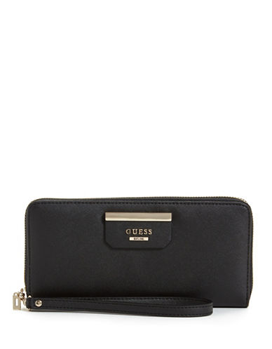 Guess Ryann Printed Zip-Around Wallet-BLACK-One Size