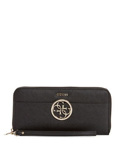 Guess Kamryn Saffiano Textured Wristlet-BLACK-One Size