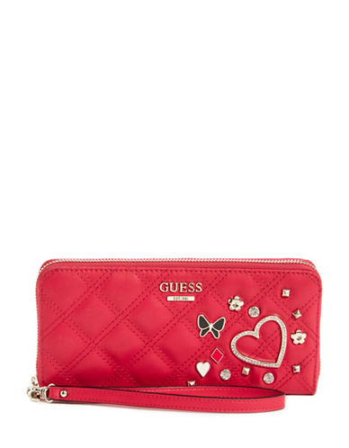 Guess Darin Zip-Around Wallet-RED-One Size