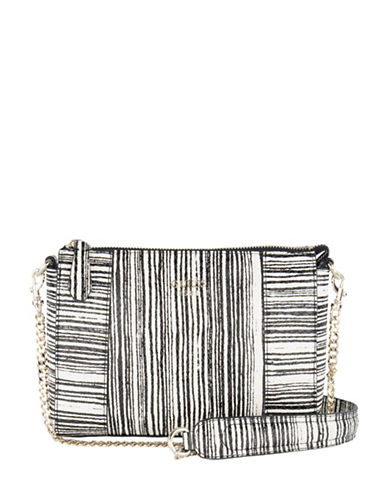 Guess Kamryn Python-Embossed Convertible Crossbody Bag-BLACK STRIPE-One Size