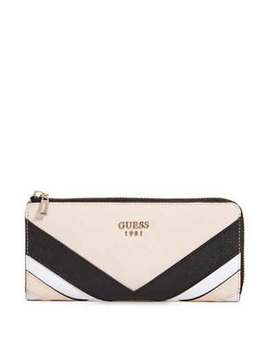 Guess Slater Colourblock Slim Zip Wallet-BEIGE-One Size